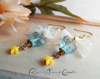 Luna earrings [in aqua] / gold plated finish hook drop lightweight earrrings