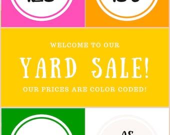 Garage Sale Printables - Yard Sale Printable - Prices  Instant Download Yard Sale Organization