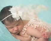 Ivory Lace Wrap and Headband Set, Newborn Wrap Set, Baby Girl Prop, Newborn Photo Prop, Baby Girl Headband, Baby Lace Wrap