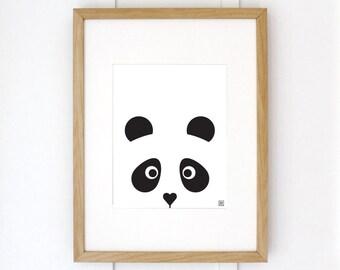 MODERN PANDA PRINT // Black & White Art Print // Black and White Art Print
