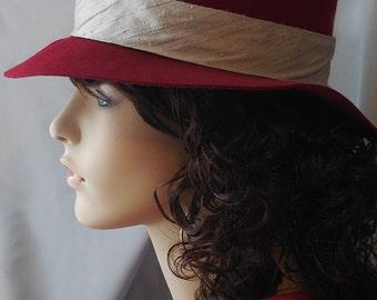 Hand made fedora hat - burgundy felt
