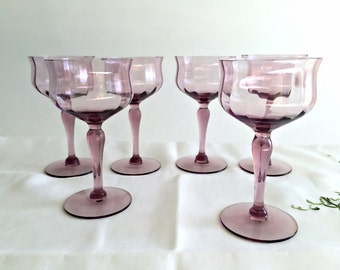 Vintage Chic Crystal Stemware 6 Stemmed Cordial Liqueur Glasses Sherry Glasses Dessert Wine Glasses  Amethyst Optic Glass