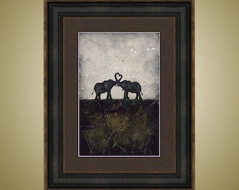 PRINT or GICLEE Reproduction -- Elephant Love Print Heart Trunks Neutral Colors - 12 x 18 A Love to Remember