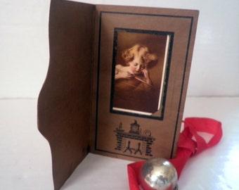 Antique Photo Folder Cupid Asleep M. B. Parkinson 1847 Classic Sepia w. Tint