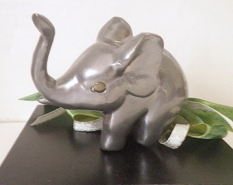 Vintage Pewter Elephant Paperweight Lucky Trunk Up Desk Accessory