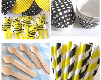Bumble Bee Kit. Set of 25 Bee Picks, 50 Cupcake Liners, 25 Stripped Straws, 25 Mini Wooden Spoons, 25 Cups.