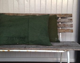 khaki green wool and canvas cushion - oblong - made in australia - reliance