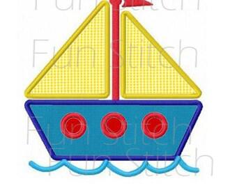 Sailboat applique machine embroidery design