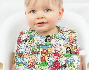 Hawaii Kawaii Bib, Cotton Baby Snap Bib, Baby Shower Gifts Under 20, Japanese Fabric, Baby Kitsch Kawaii, Kawaii Baby Gift
