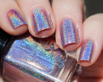 "Nail polish - ""Flatline"" light taupe grey linear holographic polish"