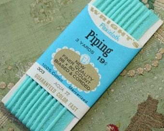 """Vintage card unopened aqua blue piping 100% cotton bias binding trim 7/16"""" wide 3 yards wiggle dress 1950s sewing pajamas"""