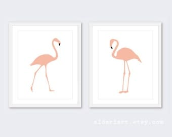 Flamingo Prints - Flamingo Wall Art - Tropical Bird Art - Modern Decor - Custom Color - Aldari Art