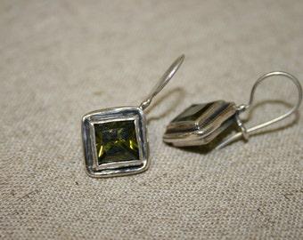 Sterling Silver Earrings, Tourmaline Earrings, Green  Stone Earrings, Handmade 925 Silver Earrings, Sterling Earrings,Dangle Earrings,
