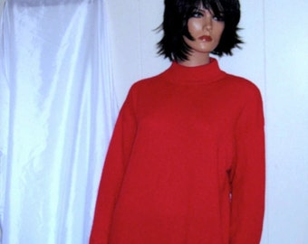 Beautiful Soft POPPY Red Mock Turtle Neck  CASHMERE  Womens Large Mint Condition