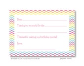 Chevron Rainbow PRINTABLE Fill-in-the-Blank Thank You Note