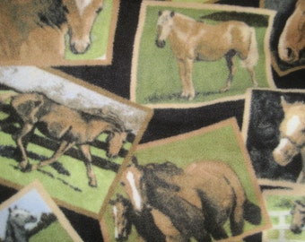 Horses in Frames with Green Handmade Fleece Blanket - This Blanket is Ready to Ship Now