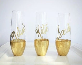 Gold Dipped Stemless Champagne Flutes, GLASS Personalized Calligraphy for Bachelorette Party, Wedding, Shower, Permanent Original on Etsy