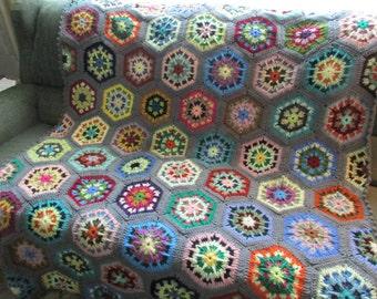 Handmade Crochet Gray Edged Multi-Colored Kaleidoscope Afghan 48 x 68