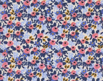Periwinkle Blue and Pink Floral Cotton Fabric, Les Fleurs by Rifle Paper Co for Cotton and Steel, Rosa in Periwinkle, 1 Yard