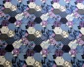 Japanese Cotton Fabric - Blue and purple hexagon quilt floral motif