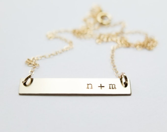 Initials with Plus Sign Gold Bar Necklace - Hand Stamped Jewelry by Betsy Farmer Designs