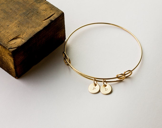 Adjustable Bangle Bracelet with Tiny Initial Discs - Hand Stamped Jewelry by Betsy Farmer Designs - Sterling, 14k Gold Fill and Rose Gold