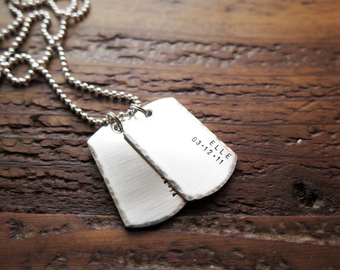 Personalized Dog Tag Necklace with Children's Birthdates and or Wedding Date Hand Stamped Sterling Silver Double Sided Thick Tags