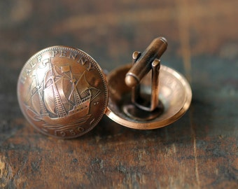Handmade Vintage English Copper Half Penny Cufflinks /Mens Cuff Links Jewelry