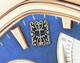 Metal Buttons - Rectangle Motif Retro Silver Metal Buttons , 2 Holes , 0.43 inch , 10 pcs