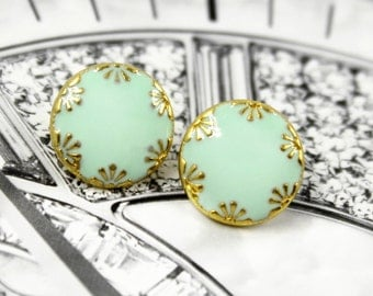 Metal Buttons - Gold Flowers Spearmint Green Enamel Metal Shank Buttons , 0.39 inch , 10 pcs