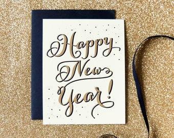Happy New Year greeting card and matching envelope