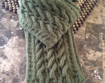 Gorgeous hand knitted scarf for men, forest green wool scarf, men's hand knitted scarf