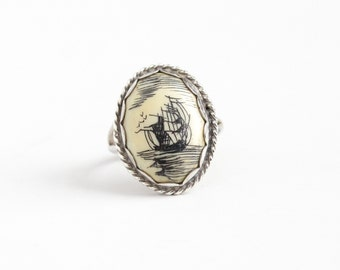 Vintage Sterling Silver Scrimshaw Ship at Sea Ring - Retro 1960s Size 5 3/4 Ocean Coastal Nautical Organic Gem Cabochon Statement Jewelry