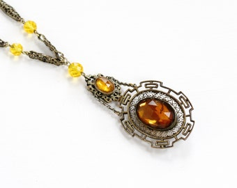 Sale - Vintage Art Deco Simulated Citrine Brass Necklace - 1930s Orange Yellow Glass Stone Filigree Lavalier Statement Costume Jewelry