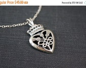 25OFFSALE Necklace, Thistle Necklace, Heart Necklace, Scottish Thistle, Celtic Necklace, Royal, Sterling Silver, Irish, No. NS125