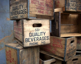 Vintage Wood Beverage Crates with Handles / Storage Organization / Advertising Crate / Old Wood Crate / Stacking Crates