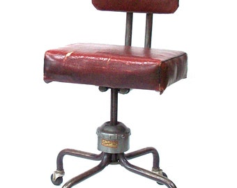 Vintage Industrial Chair / Sturgis Posture Chair Co. Sturgis Michigan / Machine Age Chair / Photo Prop / Distressed Upholstery