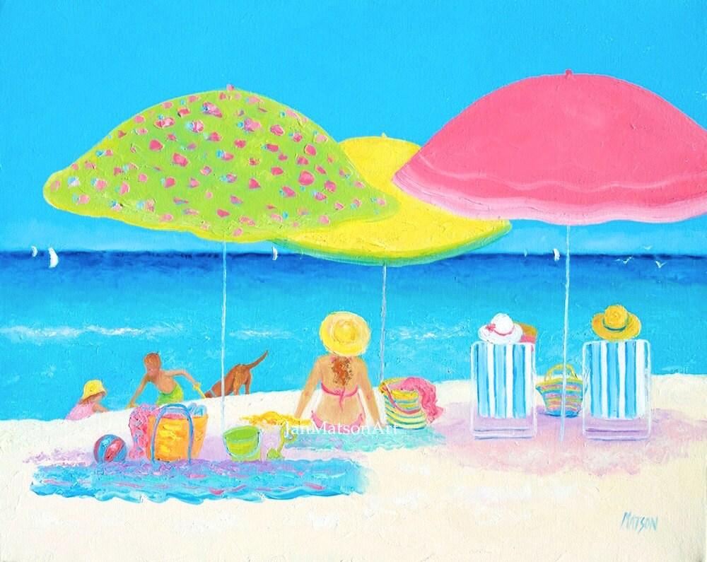 Beach Painting Canvas Art Beach Decor Whimsical Art