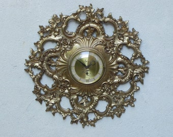 Large Syroco Gold Resin Rococo Wall Clock