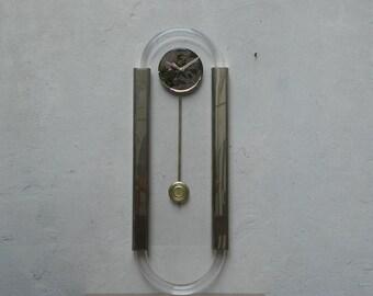 Large Lucite & Brass Modern Pendulum Wall Clock from 1980s