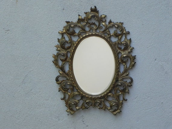Gold Metal Wall Mirror: Small Gold Cast Metal Beveled Oval Wall Mirror