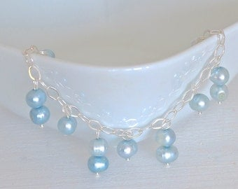 Blue freshwater pearl bracelet and sterling silver