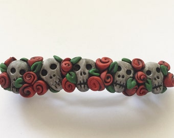 5 Skulls and Red Roses Barrette
