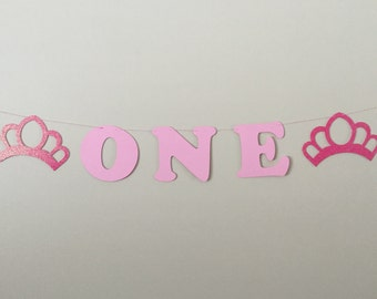 "Pink Crown ""One"" Banner princess 1st birthday tiara girl decorations"