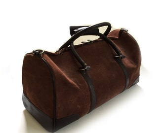 Vintage Suede & Leather Duffle Duffel Shoulder Bag Gym Bag Carry On Luggage Weekend Bag - NEW