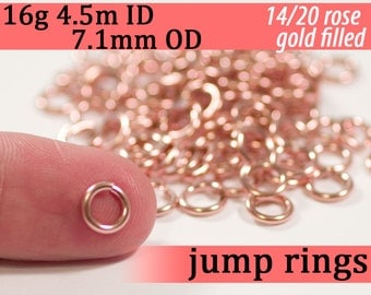 16g 4.5mm ID  7.1mm OD rose gold filled jump rings -- 14k pink goldfill jumprings 16g4.50  chainmaille rings links