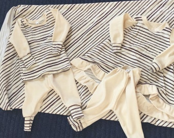 Darling twins take home outfits!! ArtGallery Cultivate! Cream with brown