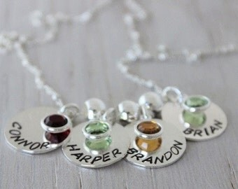 family necklace | names and birthstone necklace | sterling silver names | mothers necklace | name pendants | 4 kids names | four kids