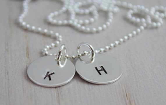 initials pendants, hand stamped mothers necklace, personalized initial discs, stamped initials, 2 initials necklace, push present new mom