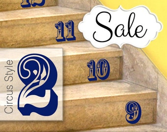 Stairs Stickers, Circus Style Number Stickers - Stairs or Wall Decals, Numbers 0 to 15, Home Decor, Baby Nursery, Shown in Navy
